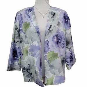 ALfred dunner floral purple blazer size 10 petite